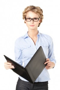 woman with a black binder